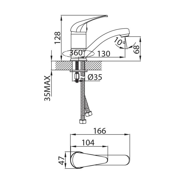 Смеситель для умывальника с поворотным изливом, Davis, Milardo, DAVSBR0M01