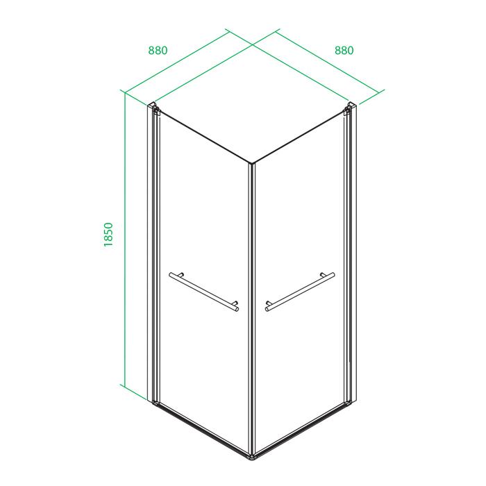 Дверки душевые, квадратные, глянцевый хром, стекло прозрачное, поддон низкий, 90*90*185 см, Elansa, IDDIS, E10S099i23