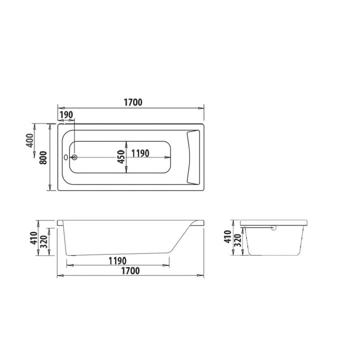 Ванна акриловая, 170х80 см, Edifice, IDDIS, EDI1780i91