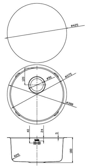 Мойка для подстольного монтажа, бронза, Edifice, IDDIS, EDI42B0i77