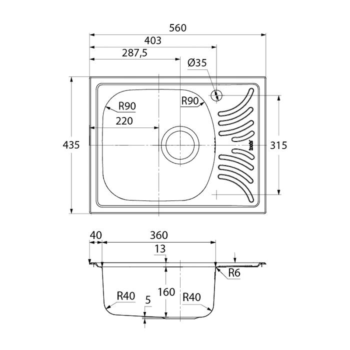 Мойка, нерж. сталь,  матовая,  чаша слева, 560х435 мм, Focus, IDDIS, FOC56MLi77
