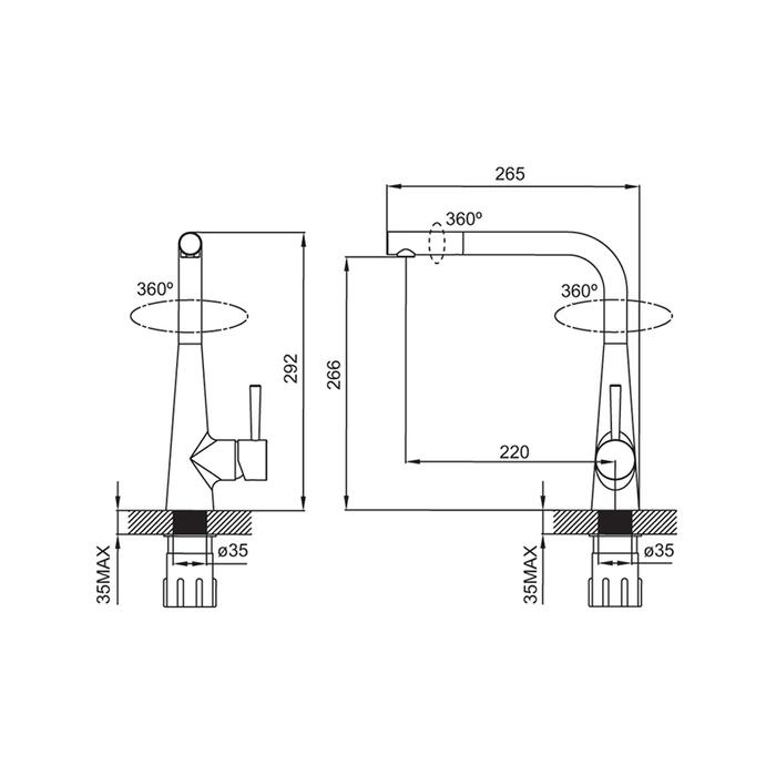 Смеситель для кухни, Kitchen, IDDIS, K02SBP0i05