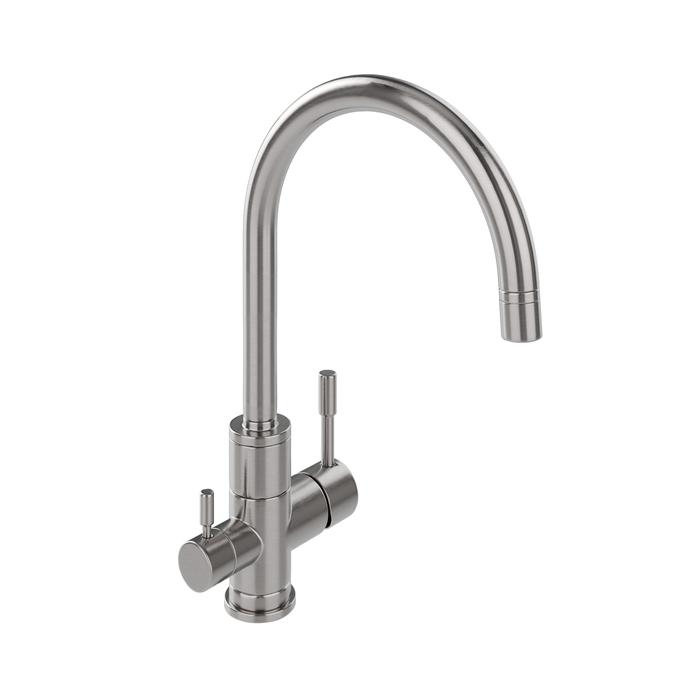 Смеситель для кухни с каналом для фильтрованной воды, нержавеющая сталь, Kitchen F, IDDIS, KF10STJi05