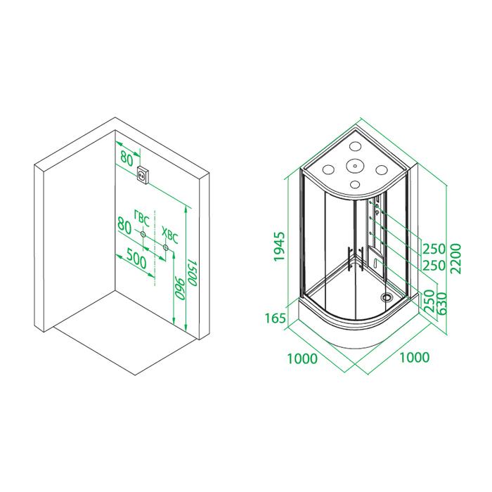 Дверки душевые, полукруглые, шелк, стекло матовое, поддон низкий, 100*100*185 см, Mirro, IDDIS, M50R101i23