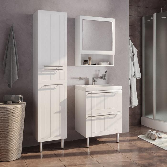 Пенал для ванной комнаты, напольный, белый, 40 см, Magellan, Milardo, MAG4000M97