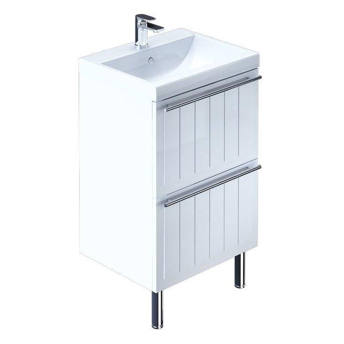 Тумба с умывальником для ванной комнаты, напольная, белая, 60 см, Magellan, Milardo, MAG60W0M95K