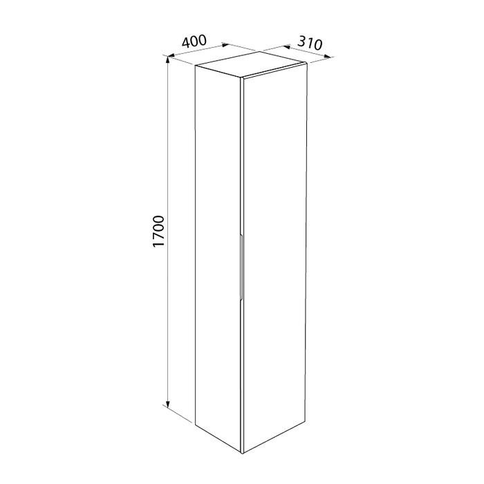 Пенал для ванной комнаты, подвесной, белый, 40 см, Mirro, IDDIS, MIR4000i97