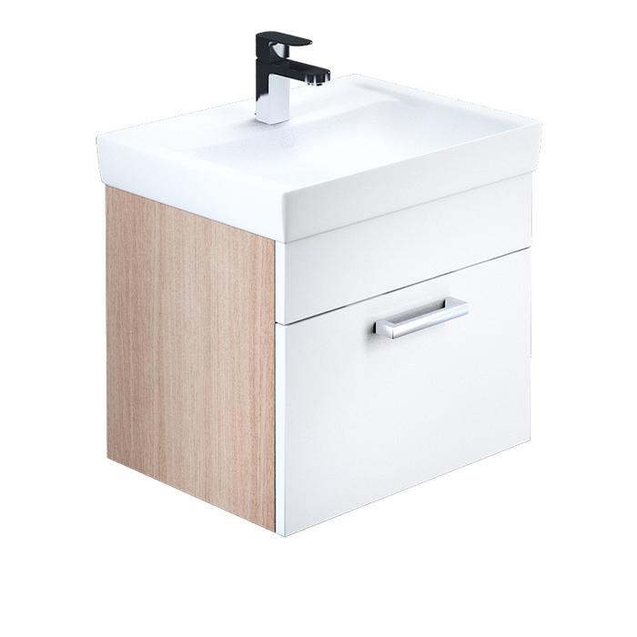Тумба с умывальником для ванной комнаты, подвесная, белая/под дерево, 50 см, Mirro, IDDIS, MIR50W0i95K