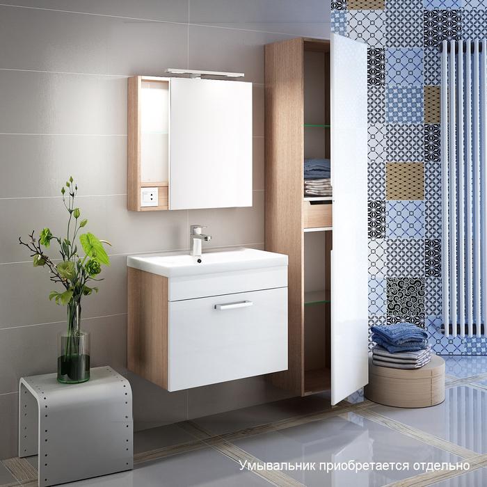 Тумба для ванной комнаты, подвесная, белая/под дерево, 50 см, Mirro, IDDIS, MIR50W0i95. Подходит умывальник 0015000U28