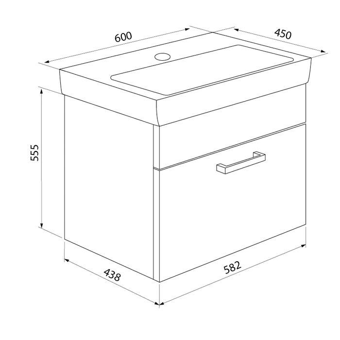 Тумба с умывальником для ванной комнаты, подвесная, белая/под дерево, 60 см, Mirro, IDDIS, MIR60W0i95K