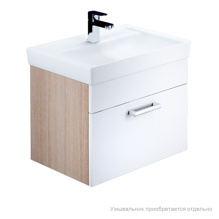 Тумба для ванной комнаты, подвесная, белая/под дерево, 60 см, Mirro, IDDIS, MIR60W0i95. Подходит умывальник 0016000U28