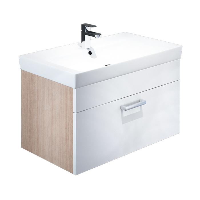 Тумба с умывальником для ванной комнаты, подвесная, белая/под дерево, 80 см, Mirro, IDDIS, MIR80W0i95K