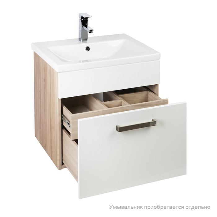 Тумба для ванной комнаты, подвесная, белая/под дерево, 80 см, Mirro, IDDIS, MIR80W0i95. Подходит умывальник 0018000i28