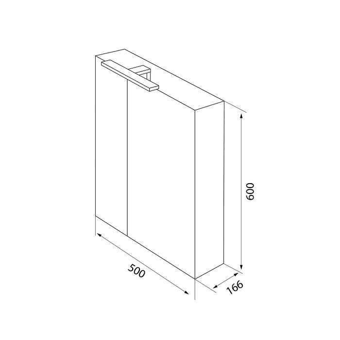 Шкаф-зеркало, 50 см, двухдверный, белый, New Mirro, IDDIS, NMIR502i99