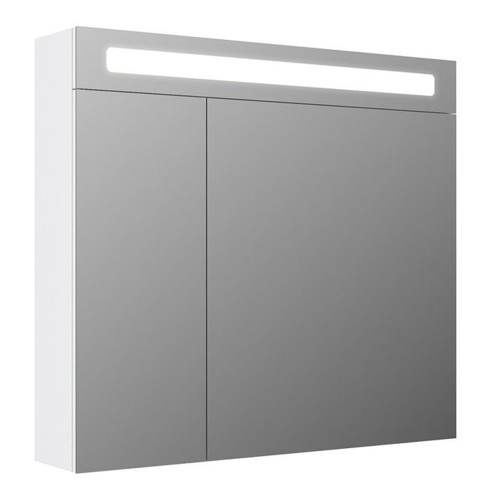 Шкаф-зеркало, 80 см, двухдверный, белый, New Mirro, IDDIS, NMIR802i99