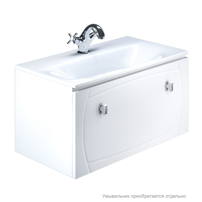 Тумба для ванной комнаты, подвесная, белая, 90 см, Rise, IDDIS, RIS90W0i95. Подходит умывальник 0029000i28