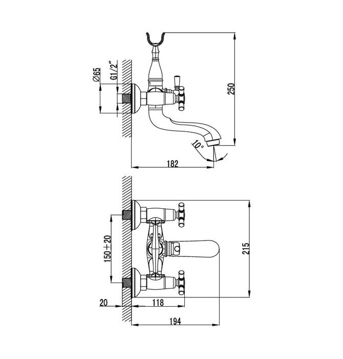 Смеситель для ванны с керамическим дивертором, Rise, IDDIS, RISSB02i02