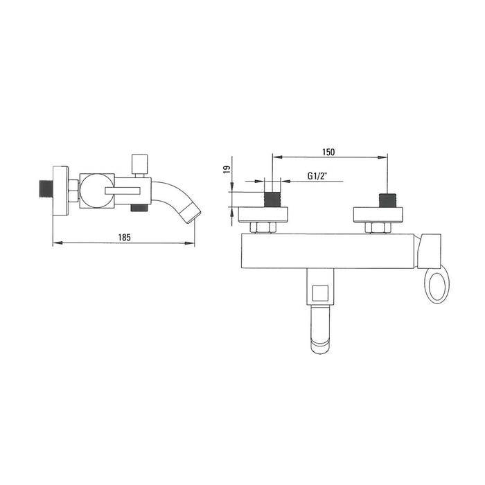 Смеситель для ванны, RM23098CK, Tangier, шланг, лейка, держатель