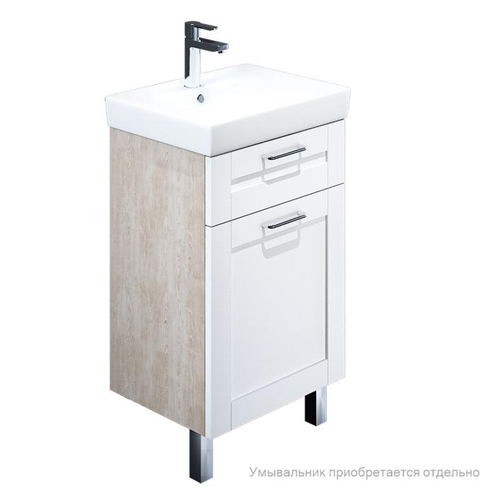 Тумба для ванной комнаты, напольная, белая/под дерево, 50 см, Sena, IDDIS, SEN50W1i95. Подходит умывальник 0035000i28
