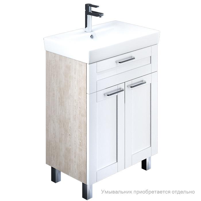 Тумба для ванной комнаты, напольная, белая/под дерево, 60 см, Sena, IDDIS, SEN60W2i95. Подходит умывальник 0036000i28