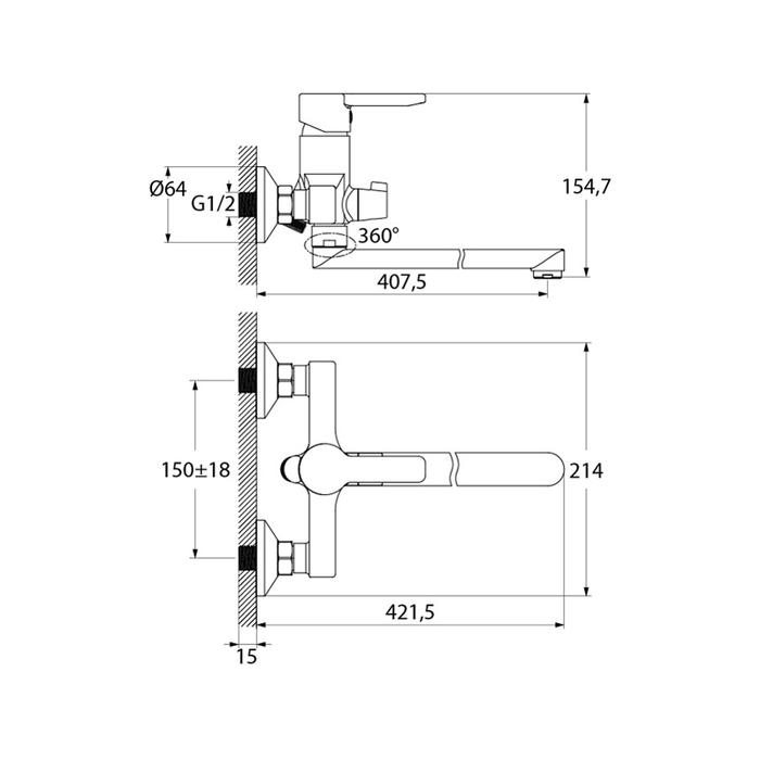 Смеситель для ванны с длинным изливом с керамическим дивертором, Sena, IDDIS, SENSBL2i10WA