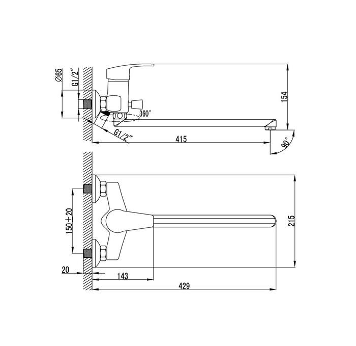 Смеситель для ванны с длинным изливом с керамическим дивертором,  Sicily, IDDIS, SICSBL2i10