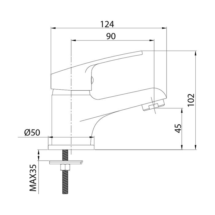 Смеситель для умывальника, Simp, Milardo, SIMSB00M01