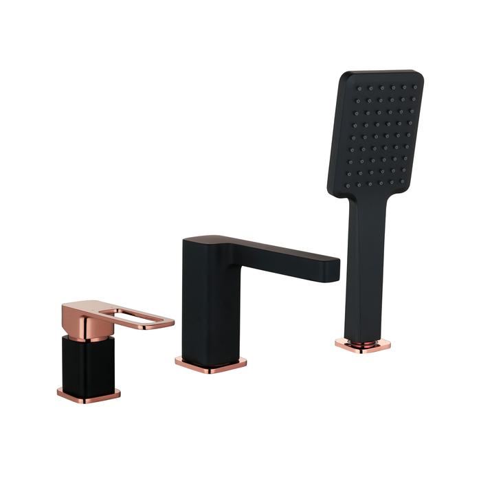 Смеситель на борт ванны на 3 отверстия с керамическим дивертором, черный, Slide, IDDIS, SLIBG30i07