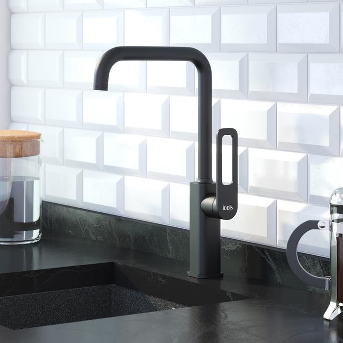 Смеситель для кухни, черный, Slide, IDDIS, SLIBL00i05