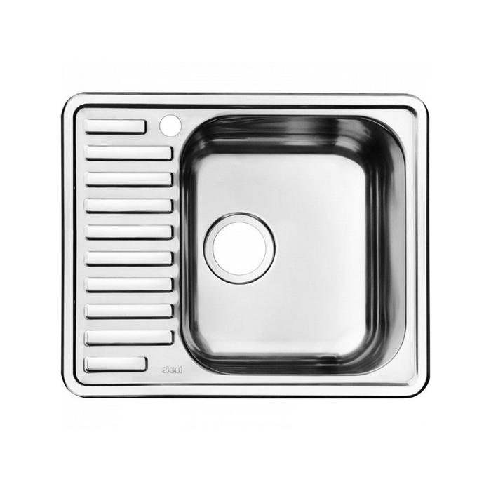 Мойка с выпуском арт. 011UPSOi84, нержавеющая сталь, полированная, чаша справа, 585*485, Strit S, IDDIS, STR58PRi77K