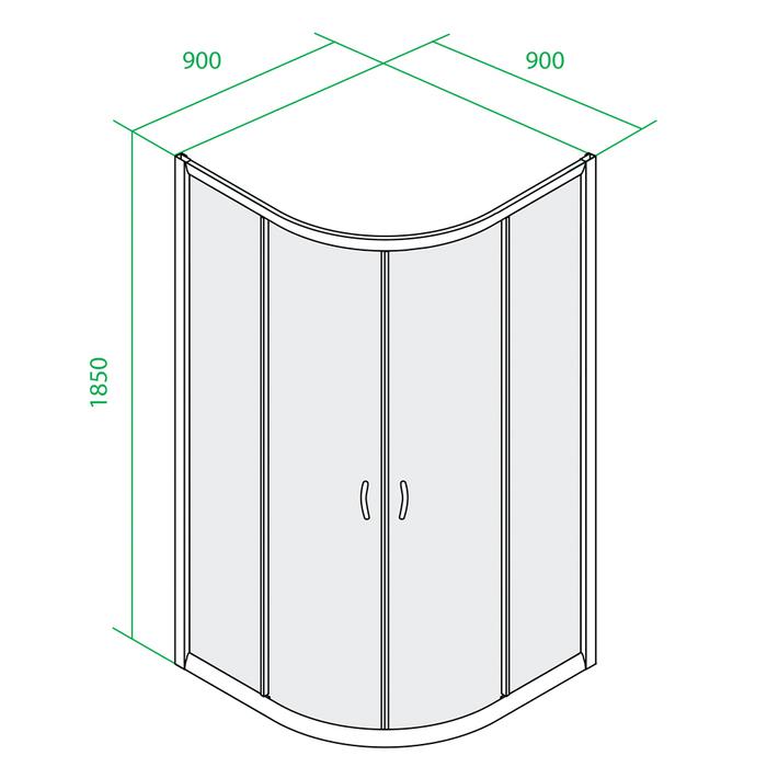 Дверки душ.полукр.(белые) п/низк. поддон TF90WL 1,850