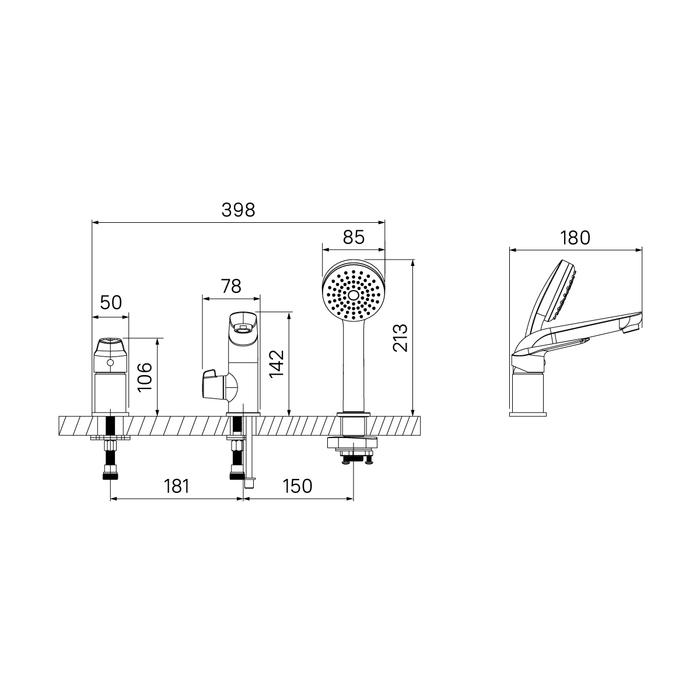 Смеситель на борт ванны на 3 отверстия с керамическим дивертором Torr, IDDIS, TORSB30i07