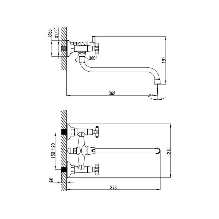 Смеситель для ванны с длинным изливом с керамическим дивертором,  Torrens, Milardo, TRSSBLCM10