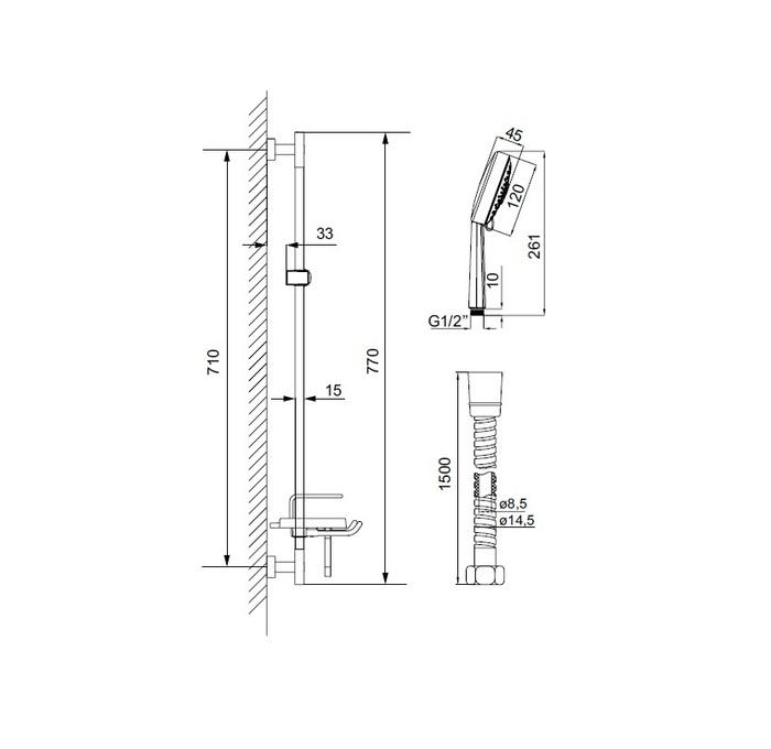 TSH1601 Душ.гарнитур(стойка 760мм,лейка 5F D120мм,шланг нерж.сталь 1,5м)