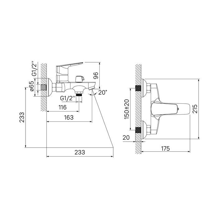 Смеситель для ванны с керамическим дивертором Vibe, IDDIS, VIBSB02i02WA