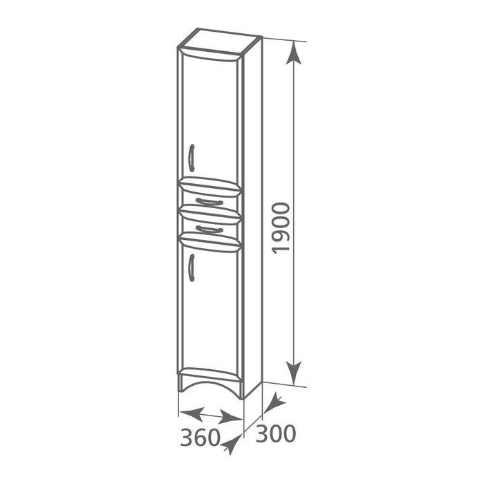 Пенал для ванной комнаты, напольный, белый, 36 см, Victoria, Milardo, VIC3600M97