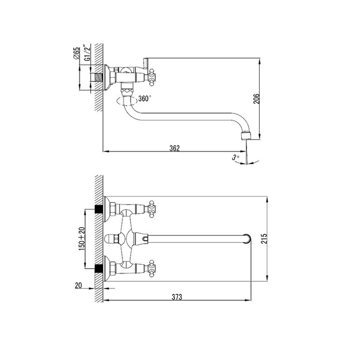 Смеситель для ванны с длинным изливом с керамическим дивертором,  Victoria, Milardo, VICSBLCM10