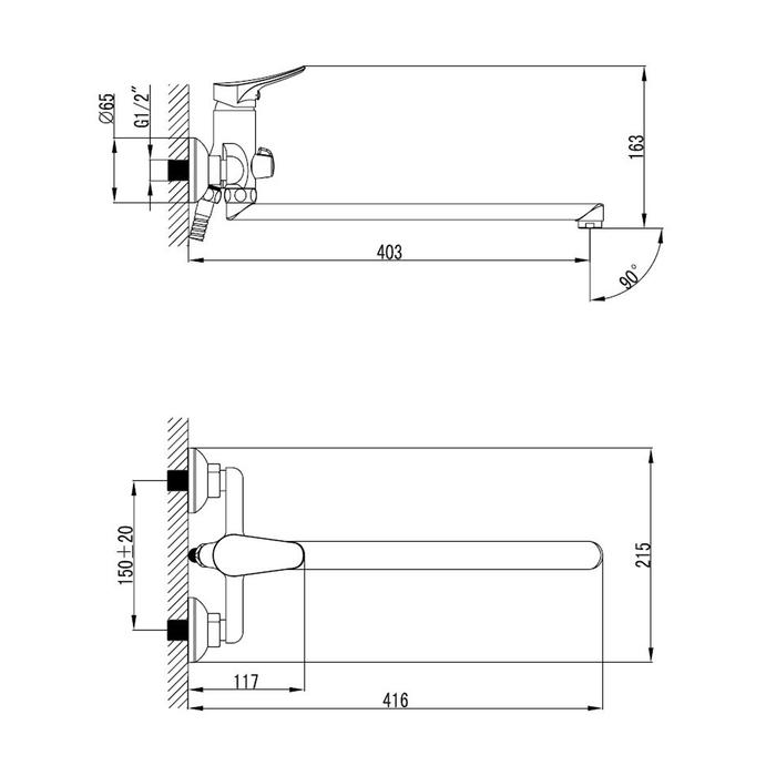 Комплект смесителей и душевых аксессуаров, Volga, Milardo, VOL0102M70