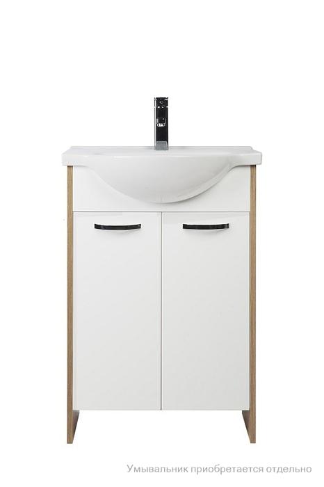 Тумба для ванной комнаты, напольная,белая/под дерево, 50 см, Volga, Milardo, VOL50W2M95. Подходит умывальник 0015000M28