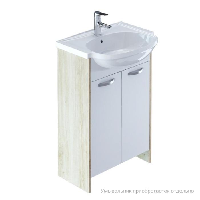 Тумба для ванной комнаты, напольная,белая/под дерево, 60 см, Volga, Milardo, VOL60W2M95. Подходит умывальник 0016000M28