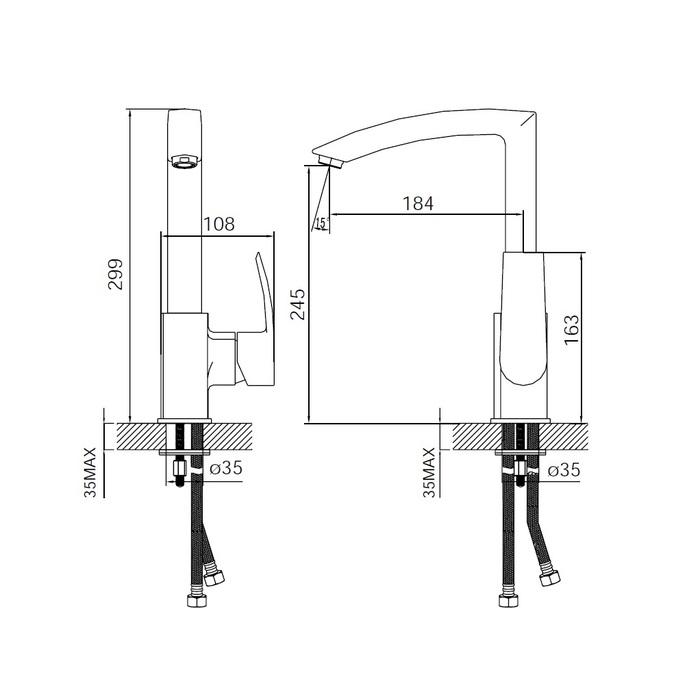 Смеситель для кухни, Vane, IDDIS, YA56177C