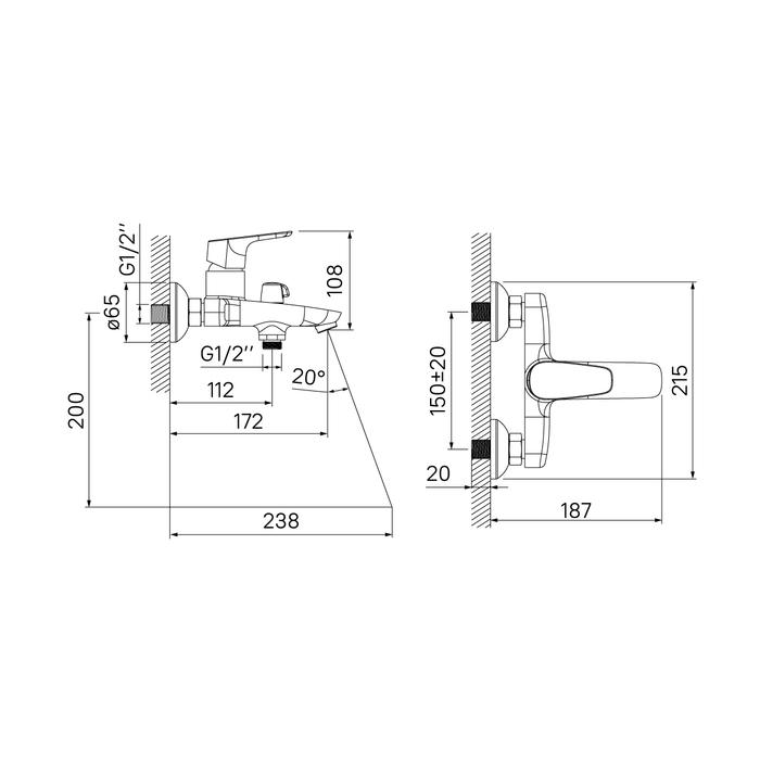 Смеситель для ванны с керамическим дивертором Zodiac, IDDIS, ZODSB02i02