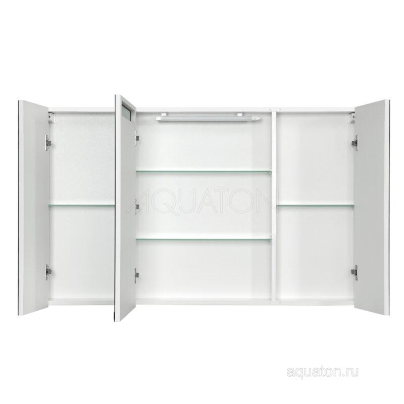 Зеркальный шкаф Aquaton Мадрид 120 со светильником белый 1A113402MA010