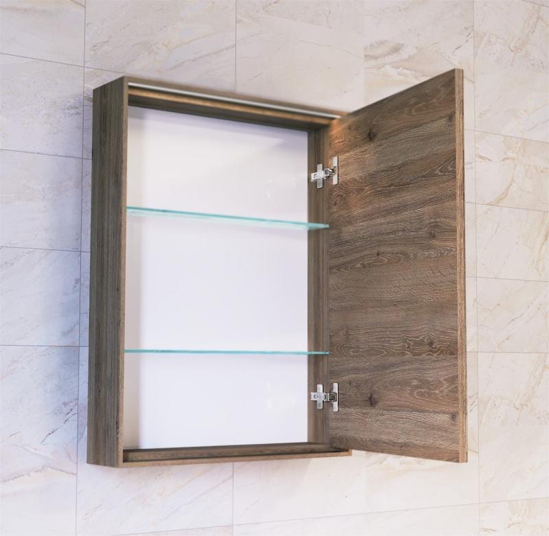 Зеркало-шкаф Frame 60 Дуб трюфель с подсветкой, розеткой Fra.03.60/DT