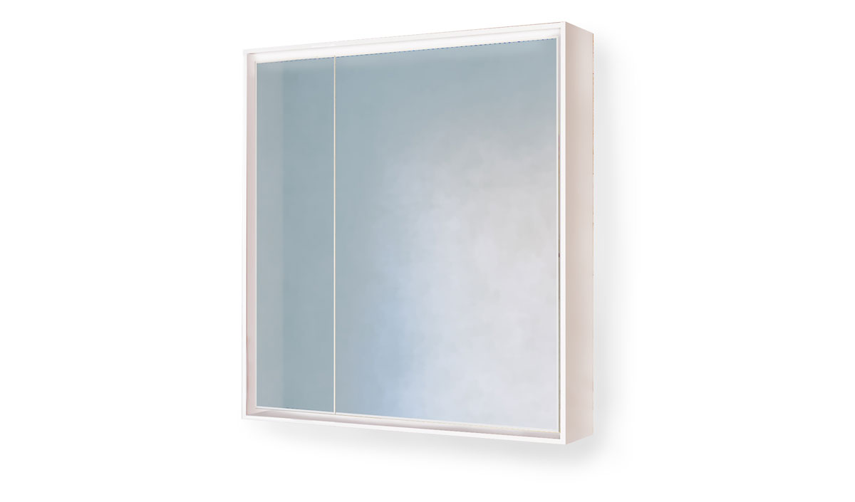 Зеркало-шкаф Frame 75 Белый с подсветкой, розеткой Fra.03.75/W