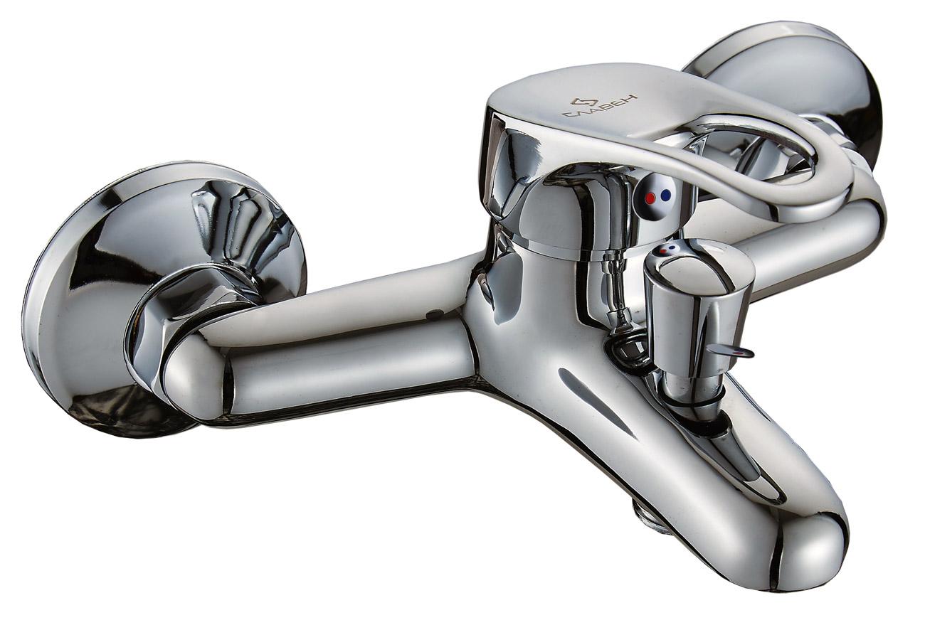 Смеситель Славен для ванны с коротким литым изливом, переключатель кнопочный, комплект, одноручный.Б30