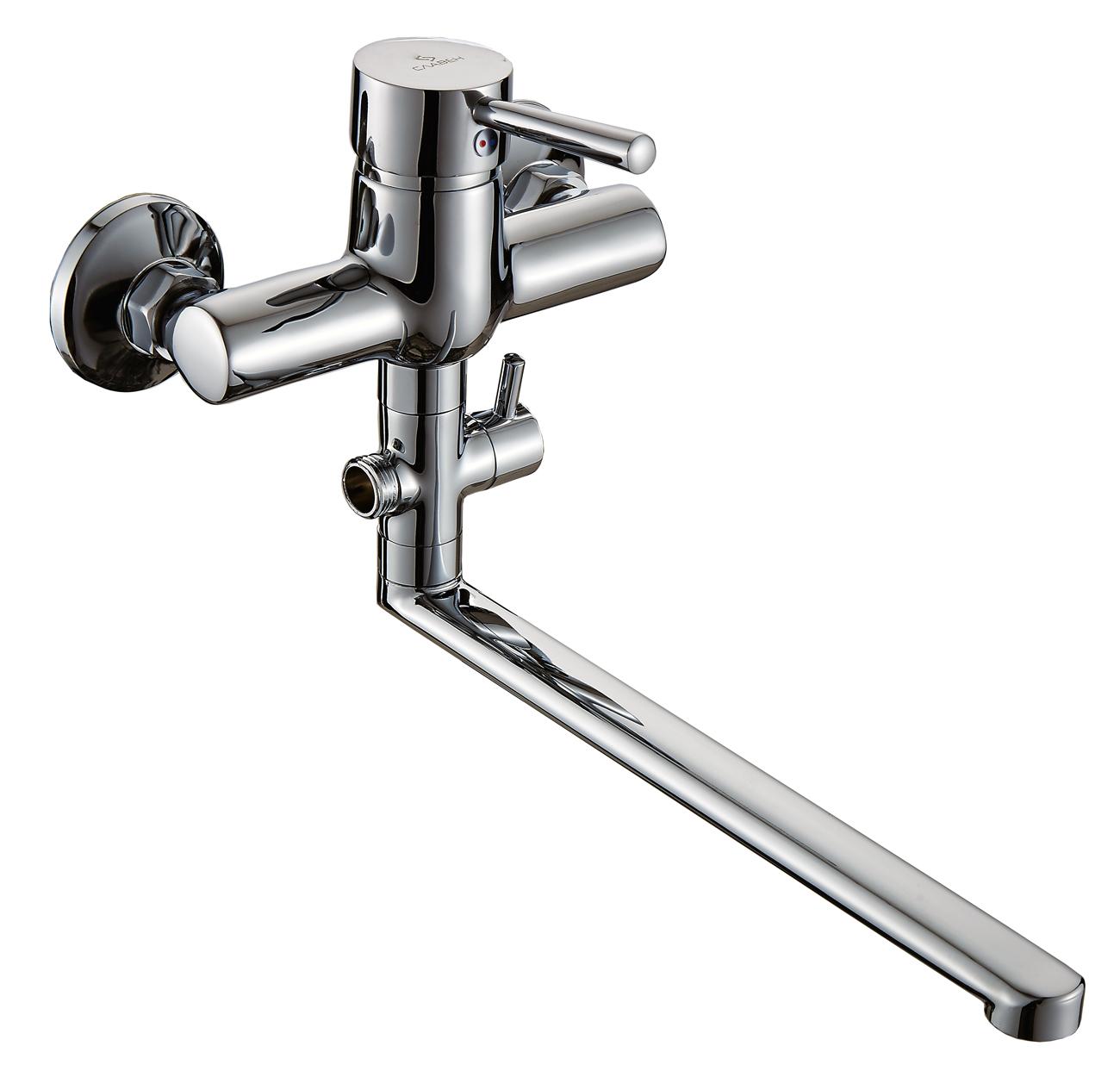Смеситель Славен для ванны и умывальника универсальный с поворотным изливом, переключатель флажковый, комплект, одноручный.Д31
