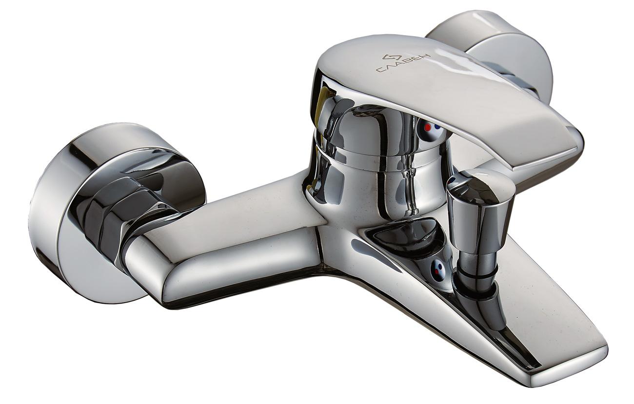 Смеситель Славен для ванны с коротким литым изливом, переключатель кнопочный, комплект, одноручный.К30