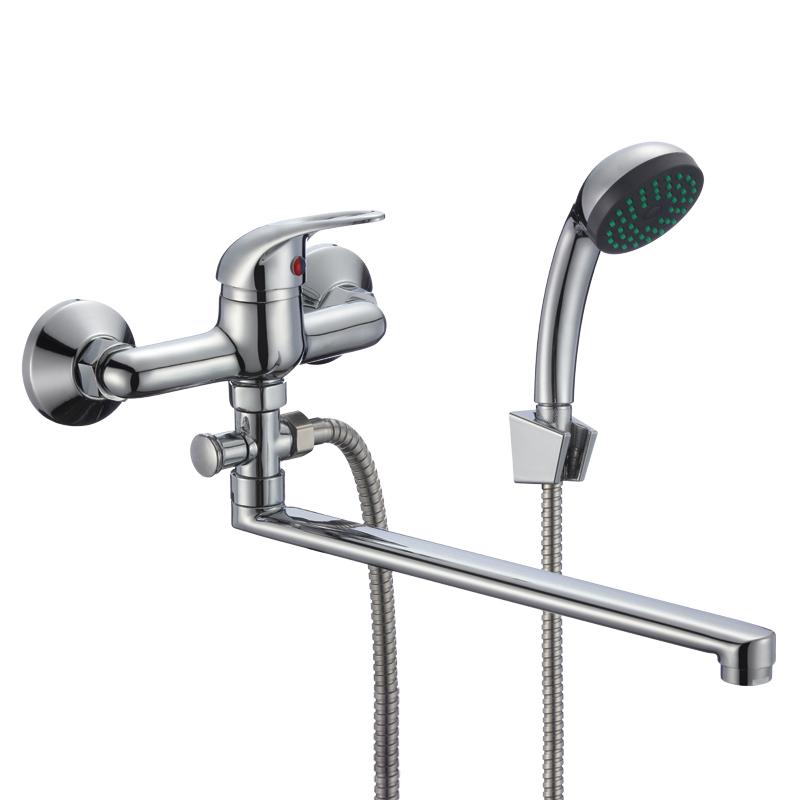 Смеситель Славен для ванны и умывальника универсальный с поворотным изливом, переключатель кнопочный, комплект, одноручный.Р31