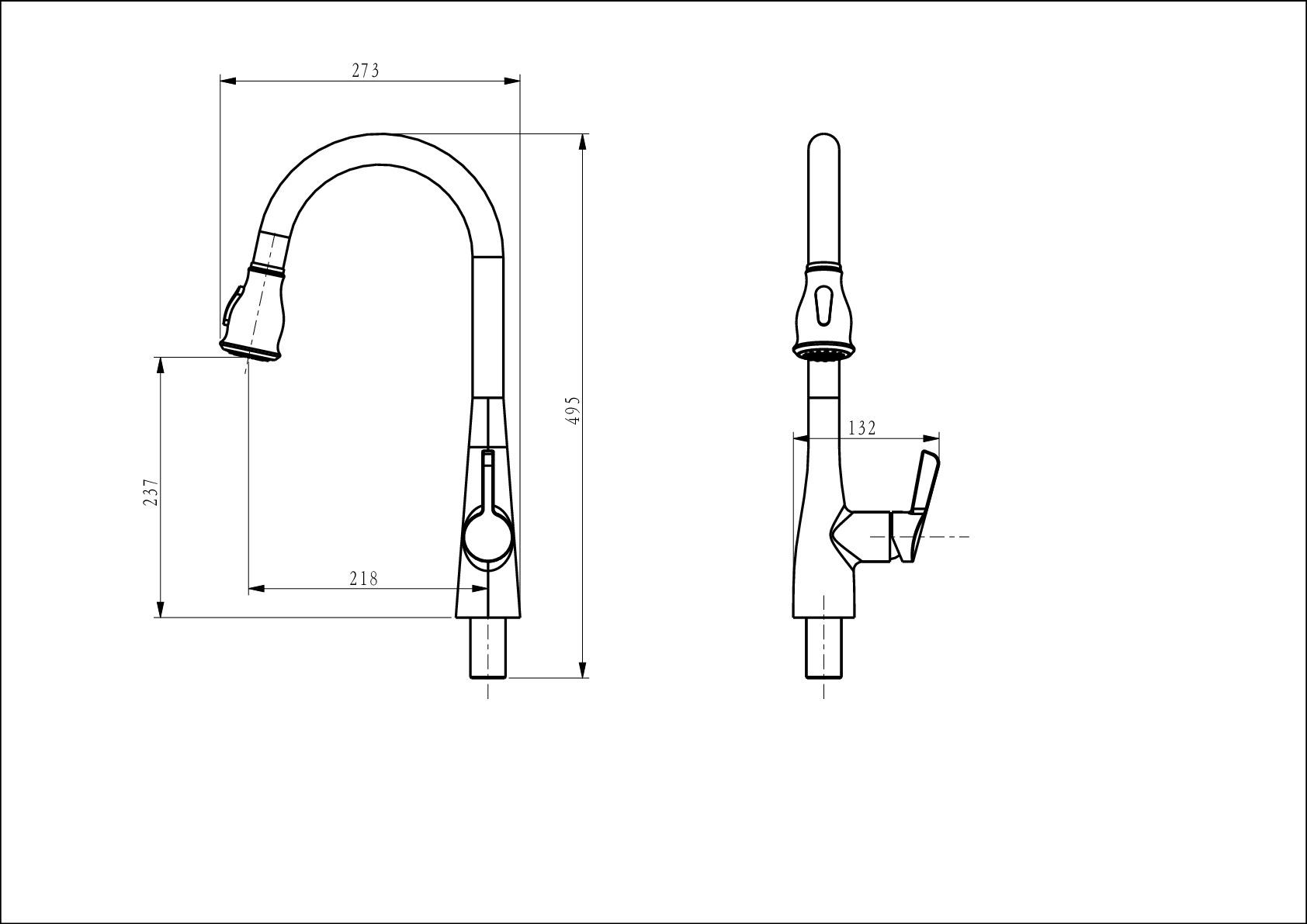Смеситель для кухни D&K Rhein.Schiller DA1462501 с выдвижной лейкой хром